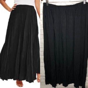 WD.NY Black Broomstick Crinkle Maxi Skirt